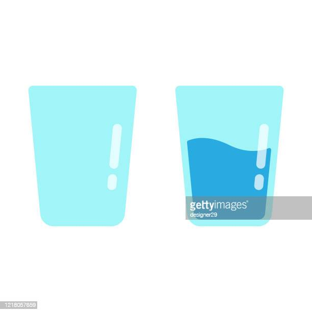 glass of water icon flat design on white background. - drinking glass stock illustrations