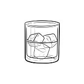 Glass of water with ice cubes hand drawn icon