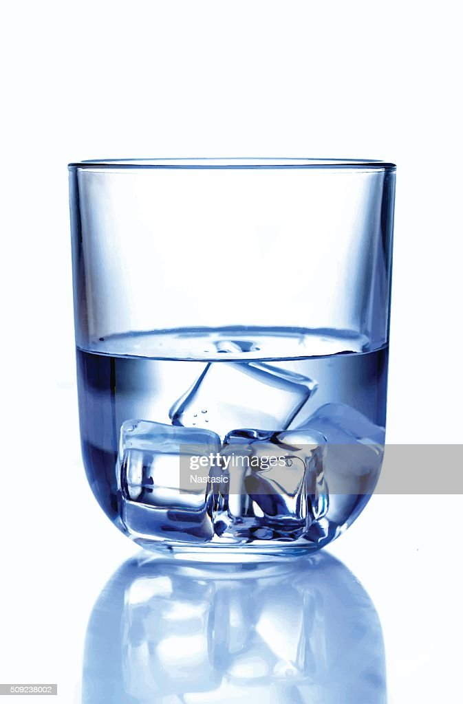 Glass of water with ice : stock illustration