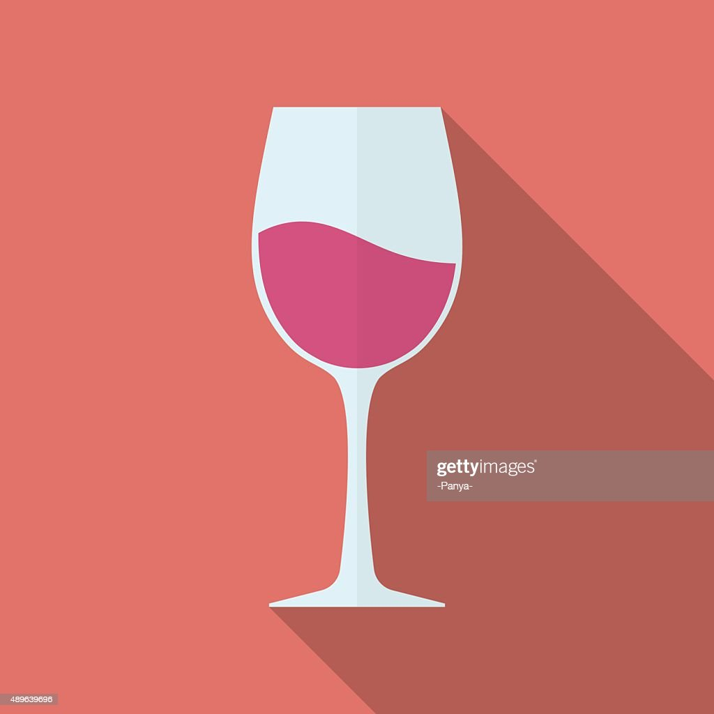 Glass of wine vector icon. Flat style