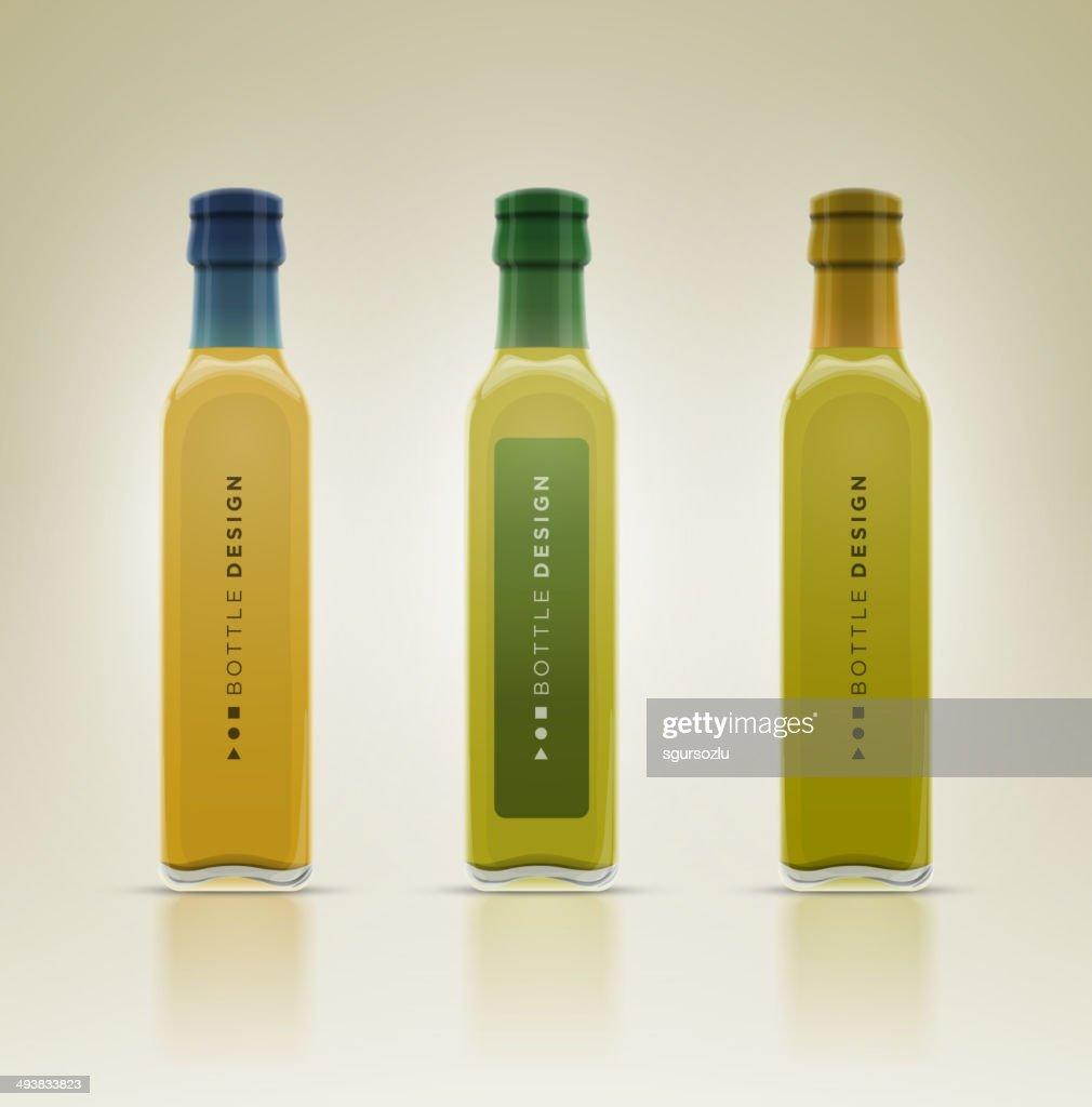 Glass oil olive bottle set.