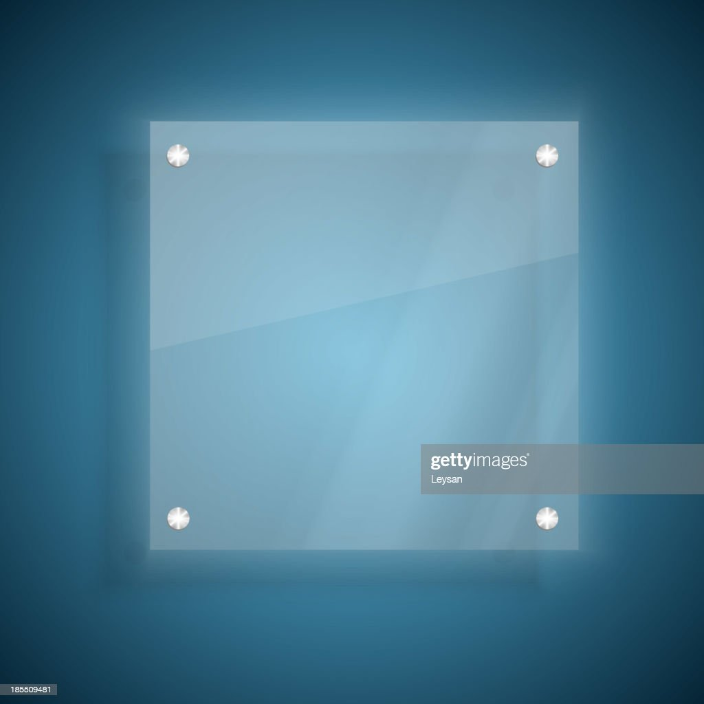 Glass plate on blue background