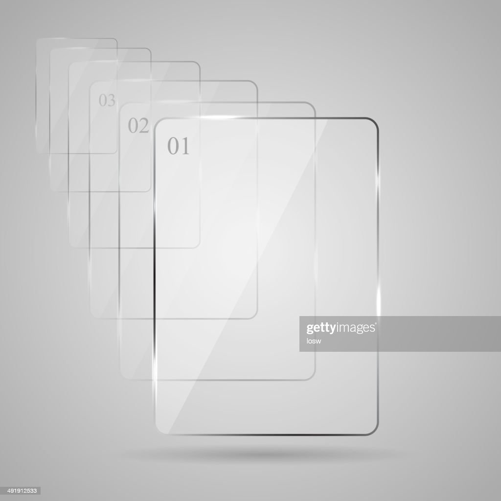 Glass plate on gray background