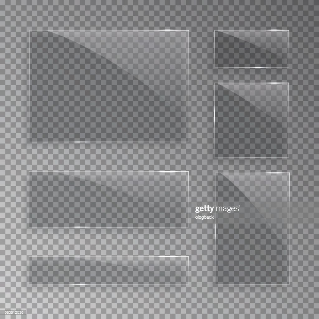 Glass plates isolated on transparent background. Vector realistic illustration.