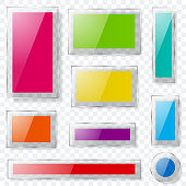 Glass plates of different colors with transparent edges