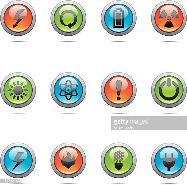 glass power buttons - power supply box stock illustrations, clip art, cartoons, & icons
