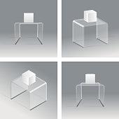 Glass rack podium shelf set 3d isometric realistic design vector