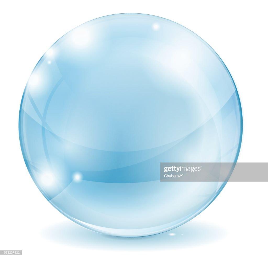 Glass sphere. Blue transparent glass ball.