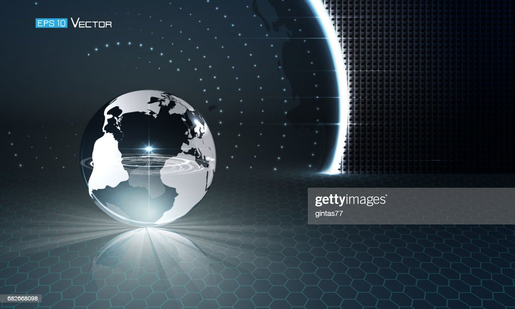 Glass sphere on futuristic background