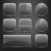 Glass square, rectangular and round buttons on checkered background. Vector