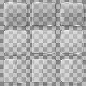 Glass square vector buttons for mobile applications