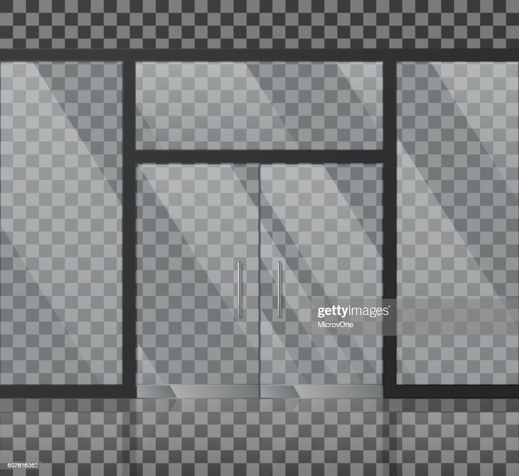 Glass store facade vector illustration