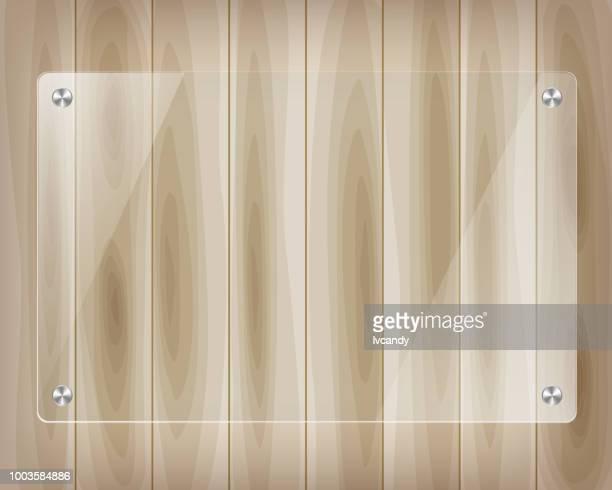 木の上のガラス テンプレート ボード - アクリル板点のイラスト素材/クリップアート素材/マンガ素材/アイコン素材
