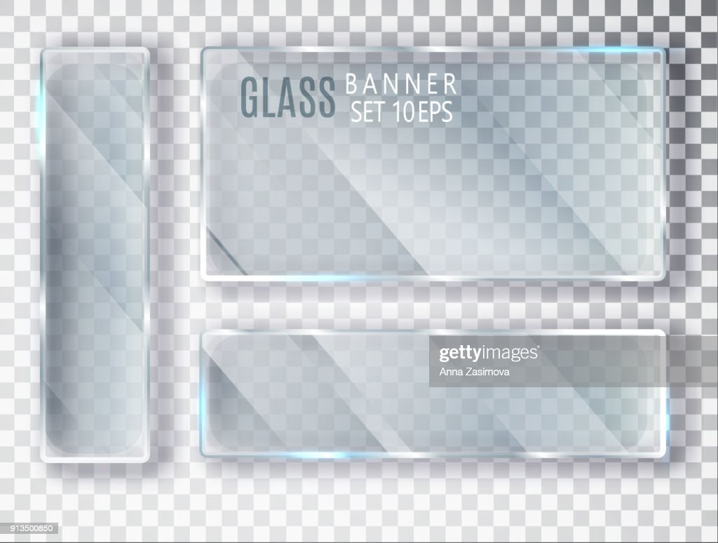 Glass transparent plates set. Vector glass modern banners isolated on transparent background. Flat glass. Realistic 3D design. Vector transparent object 10 eps.