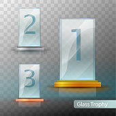 Glass Trophy Award. Set of cups - first, second and third place. Prize template. Gold, silver or bronze award template. Realistic vector transparent object 10 ep