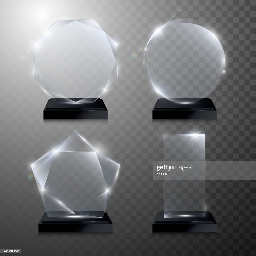 Glass trophy award. Vector crystal 3D transparent