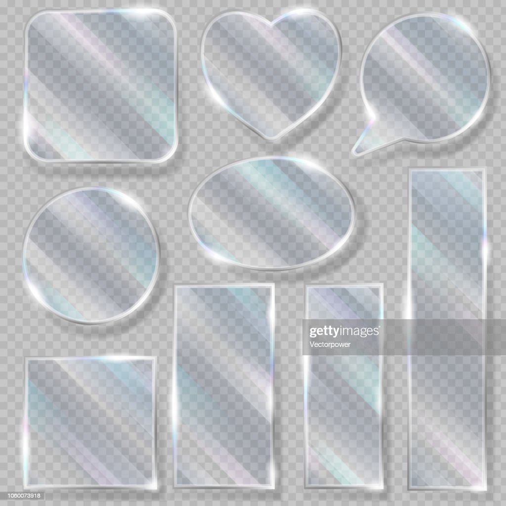 Glass vector transparency glossy clear blank frame and empty gla