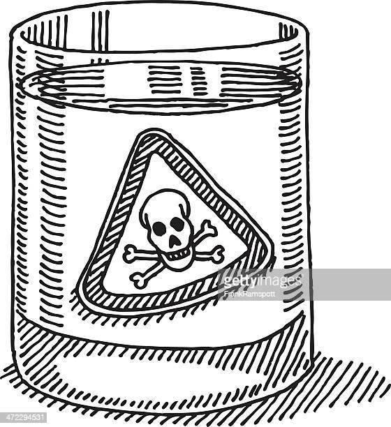 Glas Wasser giftigen Gefahr Zeichen Abbildung
