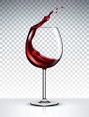 Glass with a splash of red wine isolated on transparent background