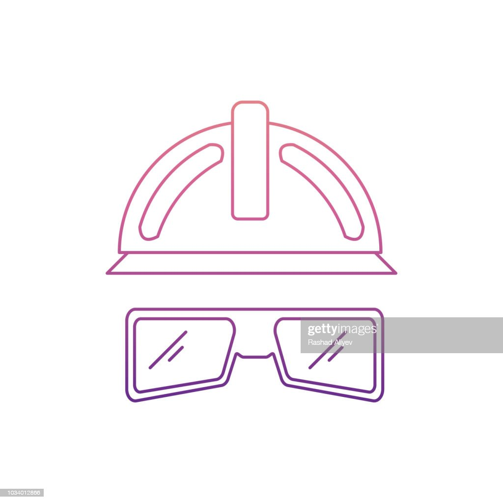 glasses and a helmet construction icon in Nolan style. One of Home repair tool collection icon can be used for UI, UX
