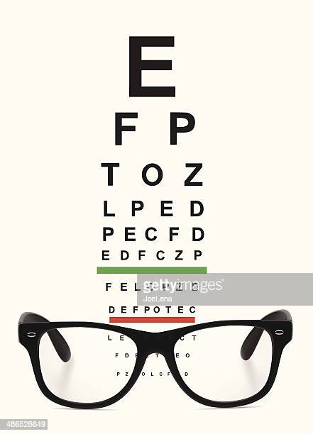 glasses and eye chart - ophthalmology stock illustrations, clip art, cartoons, & icons