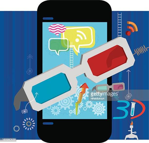 3 D óculos e telefone Mobil