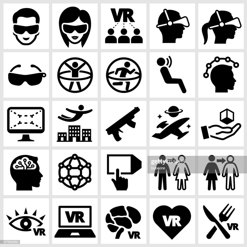 3D Glasses and Virtual Reality Experience Icon Set