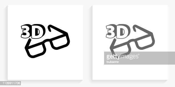 3D Glasses Black and White Square Icon
