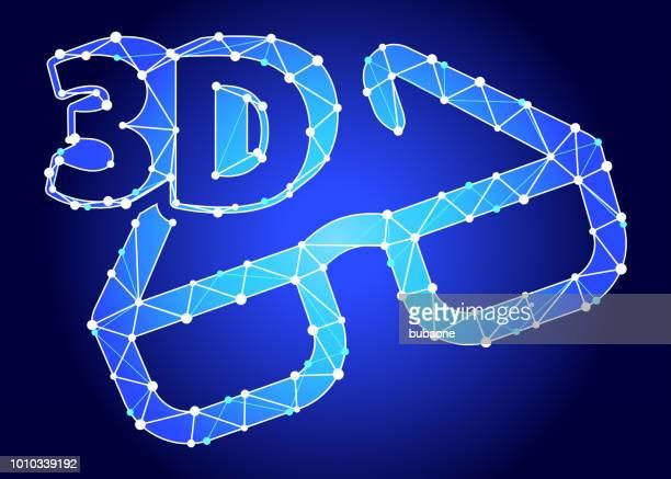 3D Glasses  Blue Triangle Node Vector Pattern