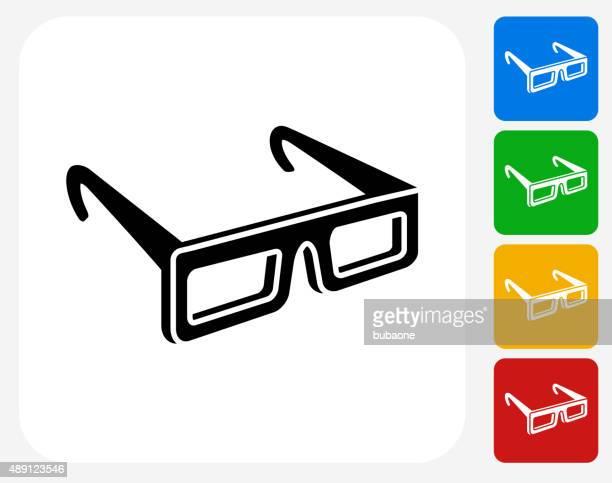 3D Glasses Icon Flat Graphic Design
