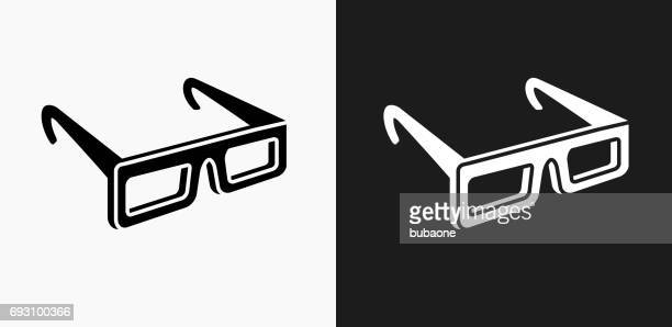 3D Glasses Icon on Black and White Vector Backgrounds