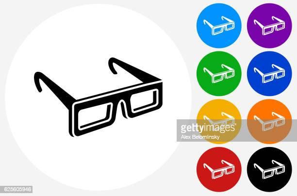 3D Glasses Icon on Flat Color Circle Buttons