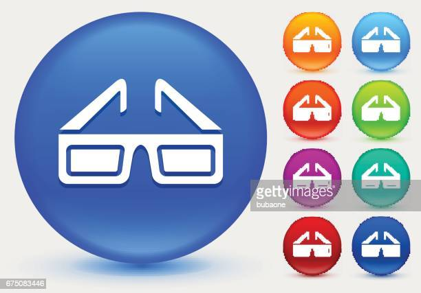 3D Glasses Icon on Shiny Color Circle Buttons