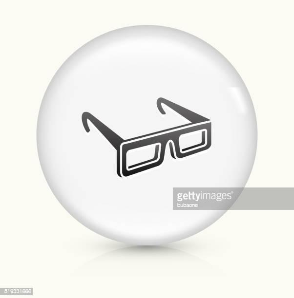 3 D óculos ícone num botão de vetor arredondado branco