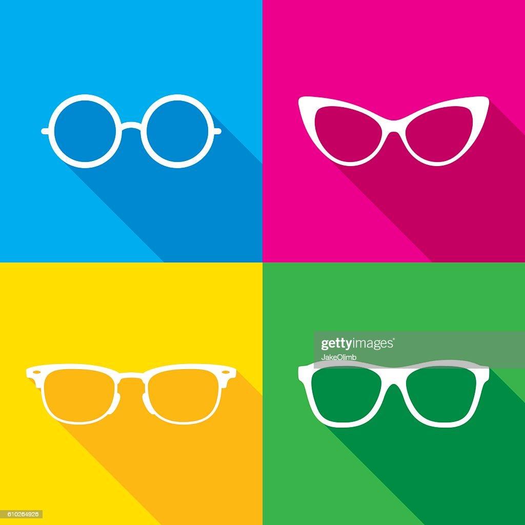 Glasses Icon Silhouettes Set