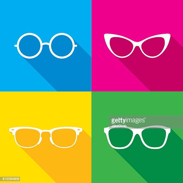 illustrazioni stock, clip art, cartoni animati e icone di tendenza di glasses icon silhouettes set - occhiali da vista
