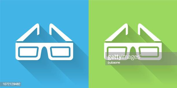 3D Glasses Icon with Long Shadow