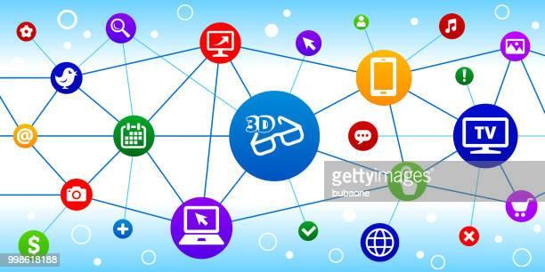 3D Glasses Internet Communication Technology Triangular Node Pattern Background