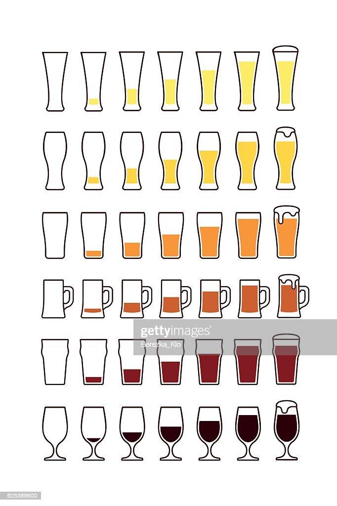 Glasses of beer: empty, half, full. Vector