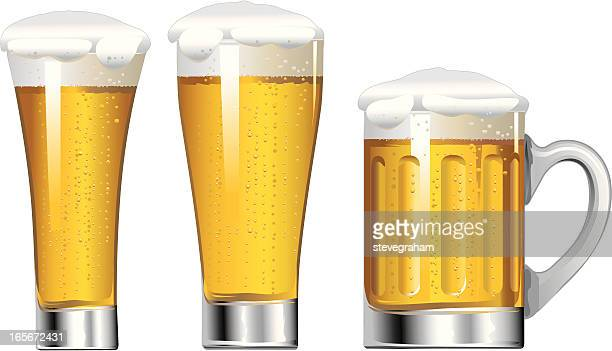 glasses of beer - beer glass stock illustrations, clip art, cartoons, & icons