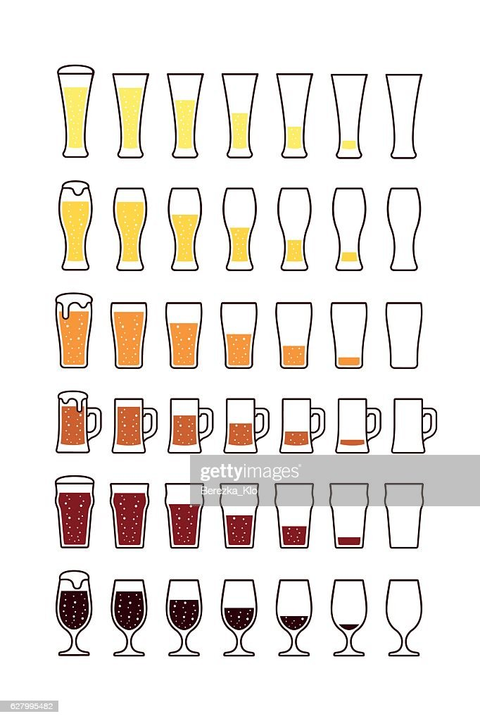 Glasses of beer with bubbles: empty, half, full. Vector