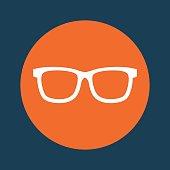 glasses orange emblem over blue background icon image