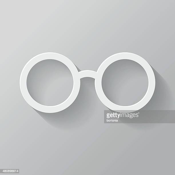 Glasses Paper Thin Line Interface Icon With Long Shadow