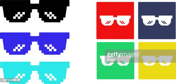 glasses pixel - illustration - sunglasses stock illustrations