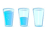 Glasses set for water. Glasses: full, empty, half-filled with water. Vector illustration