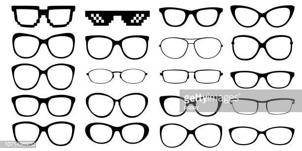 glasses silhouette - illustration - eyeglasses stock illustrations