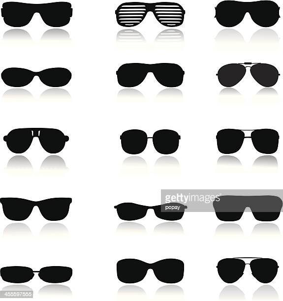 glasses silhouette - sunglasses stock illustrations, clip art, cartoons, & icons