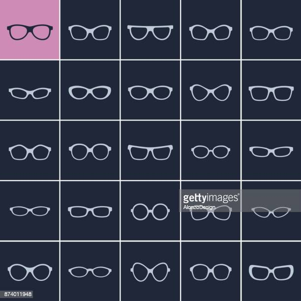 glasses silhouette - ophthalmology stock illustrations, clip art, cartoons, & icons