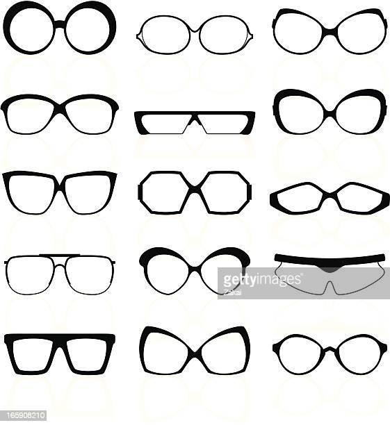 glasses silhouettes - cat's eye glasses stock illustrations