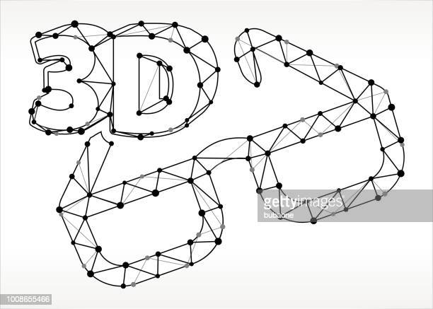 3D Glasses  Triangle Node Black and White Pattern